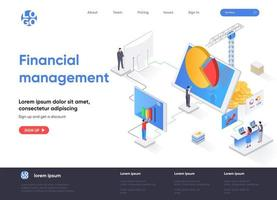 Financial management isometric landing page vector