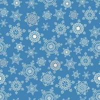 Lace pattern of elegant snowflakes on blue vector