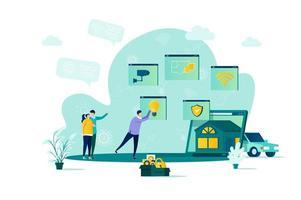 concepto de hogar inteligente en estilo plano vector