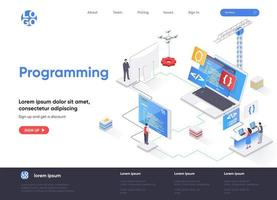 Programming isometric landing page vector