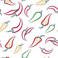 Abstract contours of chili peppers pattern vector