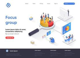 Focus group isometric landing page vector