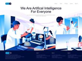 We are Artificial Intelligence for everyone landing page vector