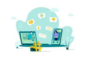 concepto de red social en estilo plano