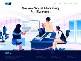 We are Social Marketing for everyone landing page vector