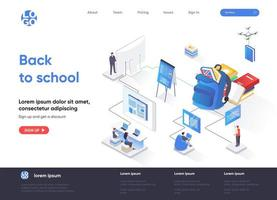 Back to school isometric landing page vector