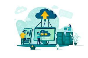 concepto de computación en la nube en estilo plano