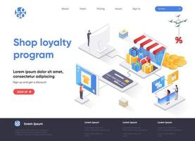 Shop loyalty program isometric landing page vector
