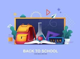 Back to school flat concept with gradients vector