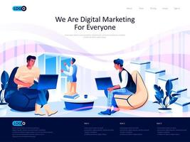 We are Digital Marketing for everyone landing page vector