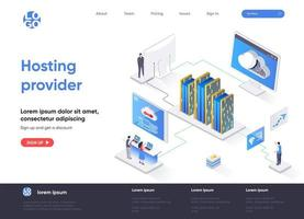 Hosting provider isometric landing page vector