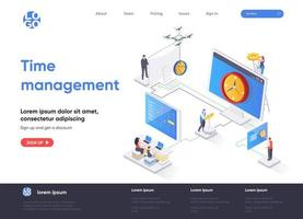 Time management isometric landing page vector