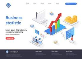 Business statistic isometric landing page vector