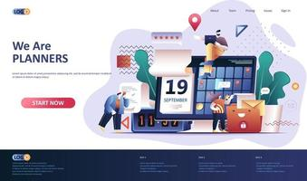 Planning flat landing page template vector