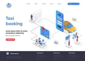 Taxi booking isometric landing page design vector
