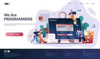 Programming software flat landing page template vector