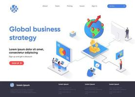 Global business strategy isometric landing page vector