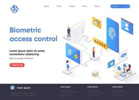 Biometric access control isometric landing page design vector