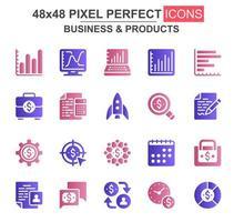 conjunto de iconos de glifo de negocios y productos vector
