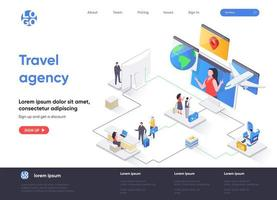 Travel agency isometric landing page vector