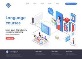 página de inicio isométrica de cursos de idiomas vector