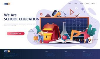 School education flat landing page template vector