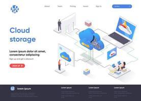 Cloud storage isometric landing page vector