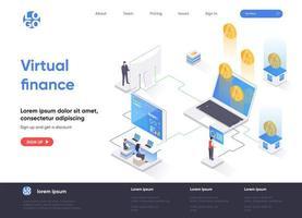 Virtual finance isometric landing page vector