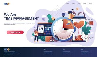 Time management flat landing page template