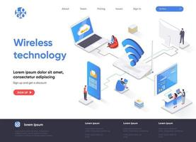 Wireless technology isometric landing page vector