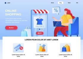 página de inicio plana de compras en línea