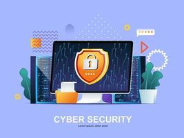 concepto plano de seguridad cibernética con gradientes vector