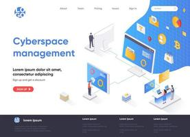 Cyberspace management isometric landing page vector