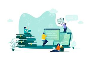 Online studying concept in flat style