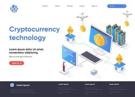 Cryptocurrency technology isometric landing page vector