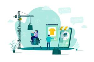 concepto de compra online en estilo plano