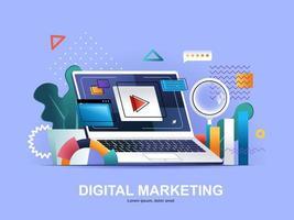 concepto plano de marketing digital con gradientes