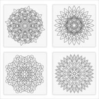Mandala flowers for adult coloring book in 4 styles