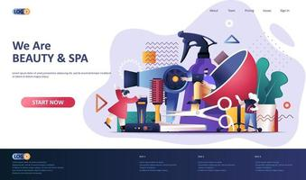 Beauty industry flat landing page template