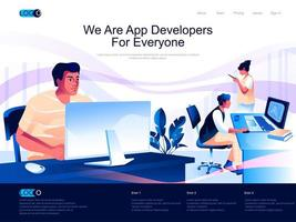 We are App Developers for everyone landing page vector