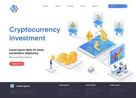 Cryptocurrency investment isometric landing page vector