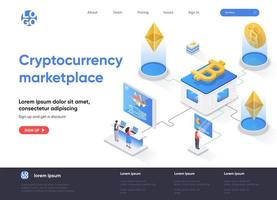 Cryptocurrency marketplace isometric landing page vector