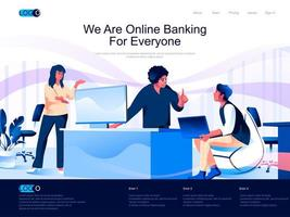 We are Online Banking for everyone landing page vector