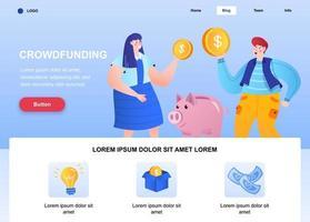 página de inicio plana de crowdfunding