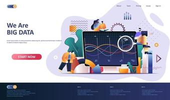 Big data analysis flat landing page template vector