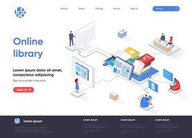 página de inicio isométrica de la biblioteca en línea