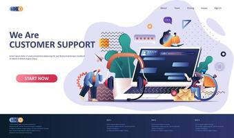 Customer support flat landing page template vector