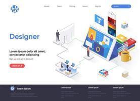 página de inicio isométrica del diseñador vector