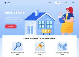 Real estate flat landing page vector