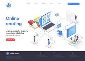 página de inicio isométrica de lectura en línea